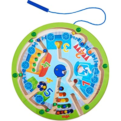 HABA Neato Number Train Magnetic Maze Game - STEM Approved Fosters Motor Skills, Numbers 1-5 and Assignment of Color Ages 2+: Toys & Games