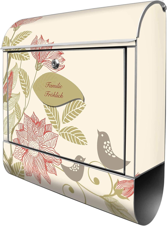 A4 Einwurf Banjado Design Briefkasten personalisiert mit Motiv WT Bl/ätterranke 2 Schl/üssel Stahl pulverbeschichtet mit Zeitungsrolle Montagematerial Gr/ö/ße 39x47x14cm inkl