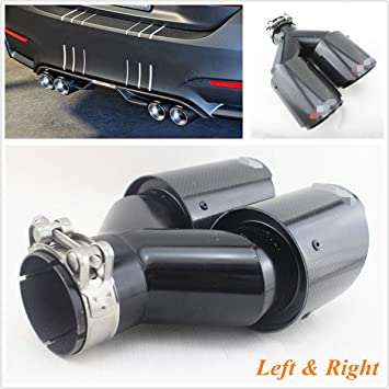 """2* Carbon Fiber Exhaust Tip Dual Pipe Black ID:2.5/"""" 63mm OD:3.5/"""" 89mm Accessory"""