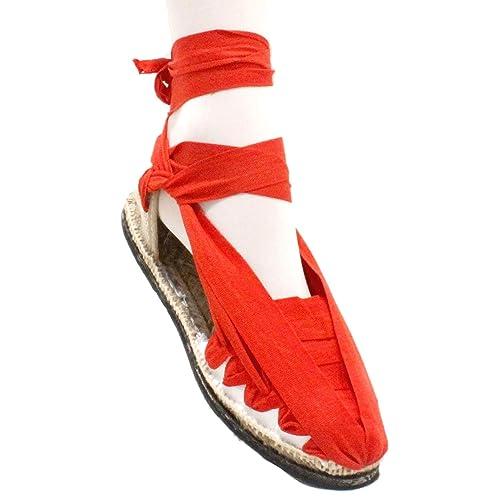 Alpargatas Pincho de Betas Rojas con Suela de Goma - Espardnyes Set Vetes vermelles amb Sola de Goma - Rojo, 46: Amazon.es: Zapatos y complementos
