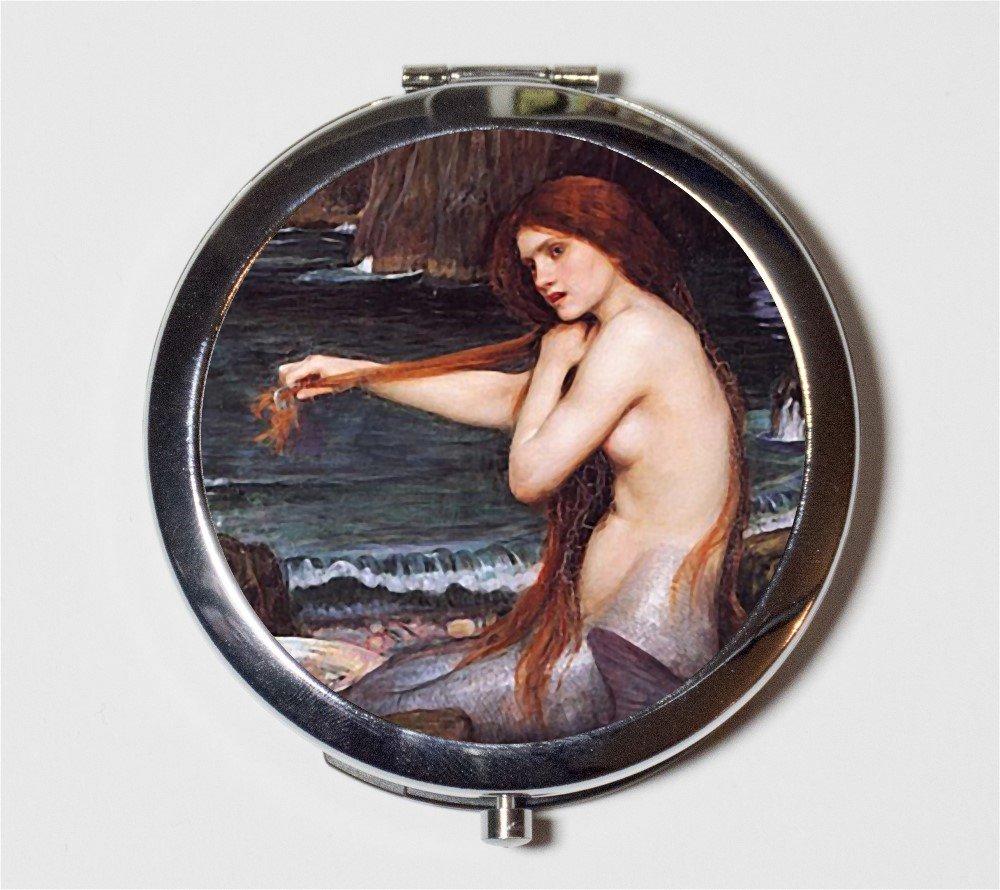 John William Waterhouse Mermaid Compact Mirror Nautical Fine Art Pocket Mirror for Cosmetics