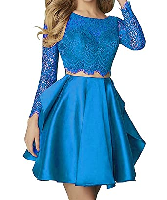 Little Star Blue Lace Homecoming Dresses Short for Juniors Long Sleeve 2018 Two Piece Prom Dresses