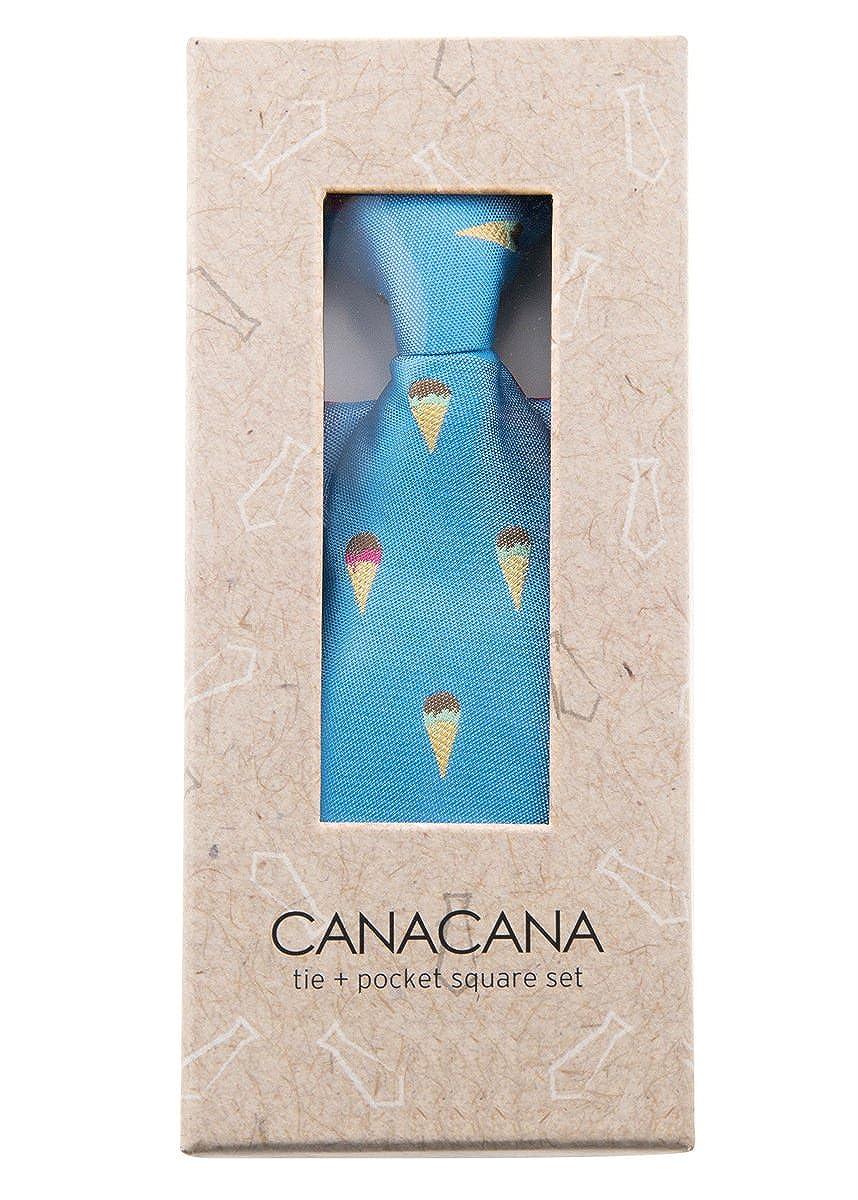 Canacana Sweet Ice Cream Pre-tied Boys Tie with Polka Dots Pocket Square Set