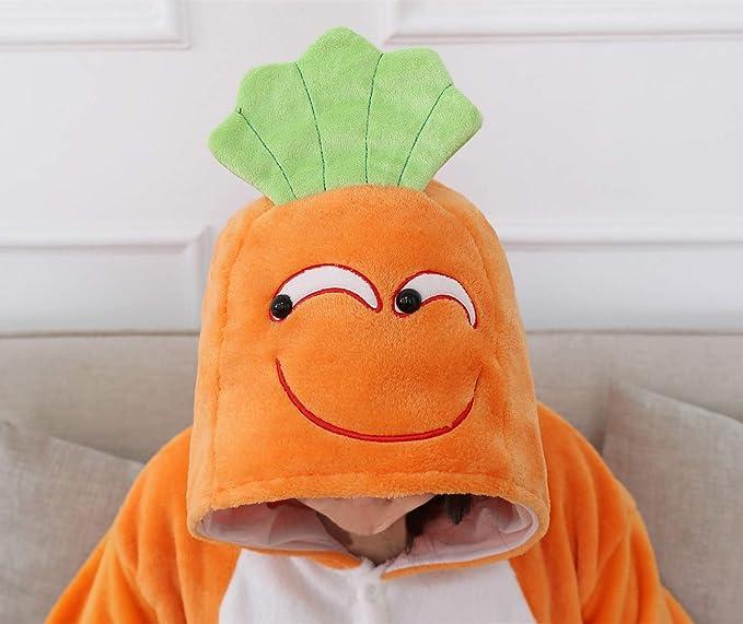 Honeystore Unisex Fleece Carrot Pyjamas Onepiece Christmas Cosplay Costume Pjs