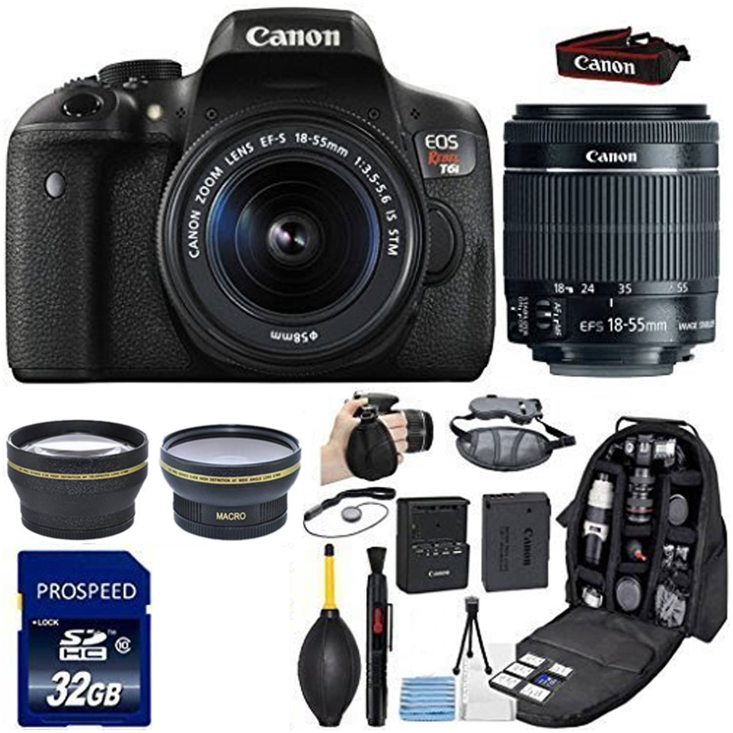 Canon EOS Rebel T6i DSLR Camera with 18-55mm IS STM Lens + Kit Includes 58mm HD Wide Angle + 2.2x Telephoto Lens + SanDisk Ultra 32GB SDHC Class 10 UHS-1 + Backpack Case + Grip Strap + Cleaning Kit