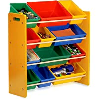 SortWise Kids Toy Storage Organizer with 12 Plastic Bins for Children Toddler Bedroom Playroom, Multi-Colors Natural…