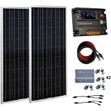 eco-worthy 200W 12V/24V OFF Grille Kits-Lot de 2panneaux solaires 100W polycristallin Panneau solaire + batterie 20A Régulateur de charge Contrôleur intelligent pour système de charge 12V ou 24V dans la maison voiture bateau caravane