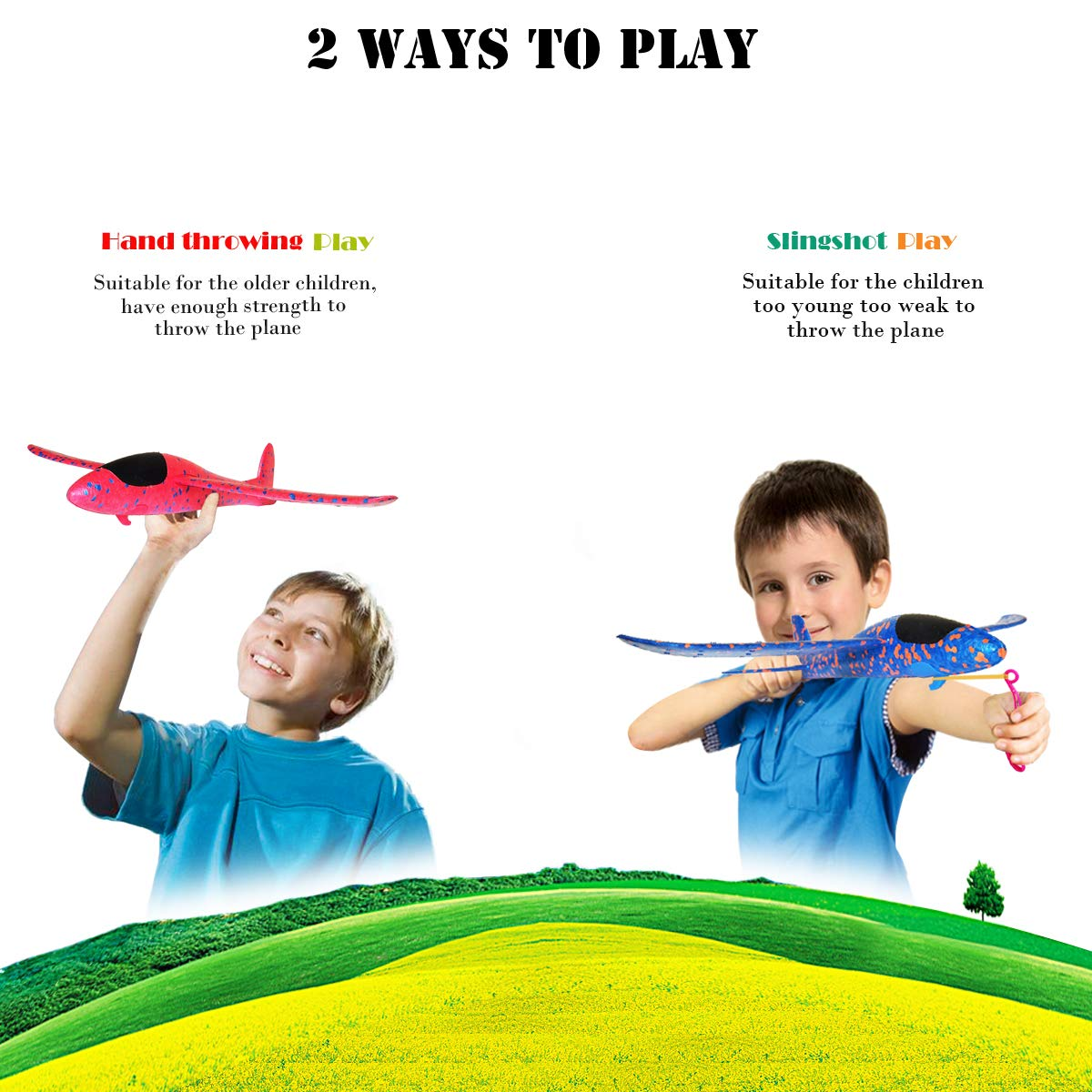 MIMIDOU 4 Pcs Catapult Slingshot Plane 2 Flight Mode Glider Airplane 2 Ways to Play Outdoor Flying Toy for Kids as Gift. by MIMIDOU (Image #2)