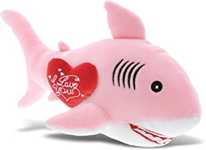 DolliBu Pink Shark I Love You Message Stuffed Animal 12 Inch, for Boyfriend or Girlfriend, Cute Teddy Bear with Heart Plush Toy for Friend, Romantic Anniversary or Valentine Gift