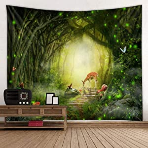 Fantasy Forest Wall Tapestry Green, Mystic Woodland Trees Deer Path Nature Plant Wall Art Tapestry Bedroom Living Room Fabric Hanging