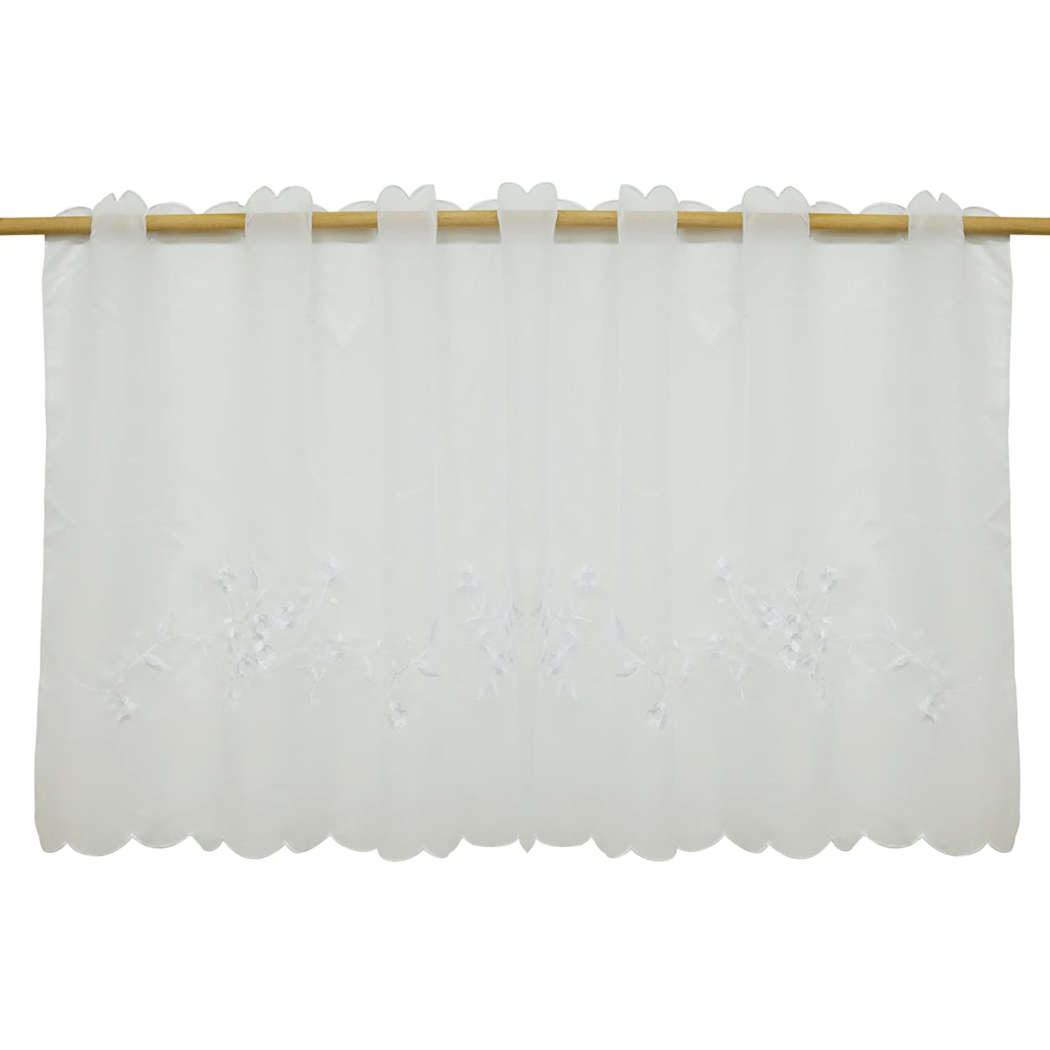 "ISINO 1 Piece Rod Pocket Embroidered Cafe Curtain Sheer Voile Kitchen Tier Curtain W 55"" x H 23"" White"