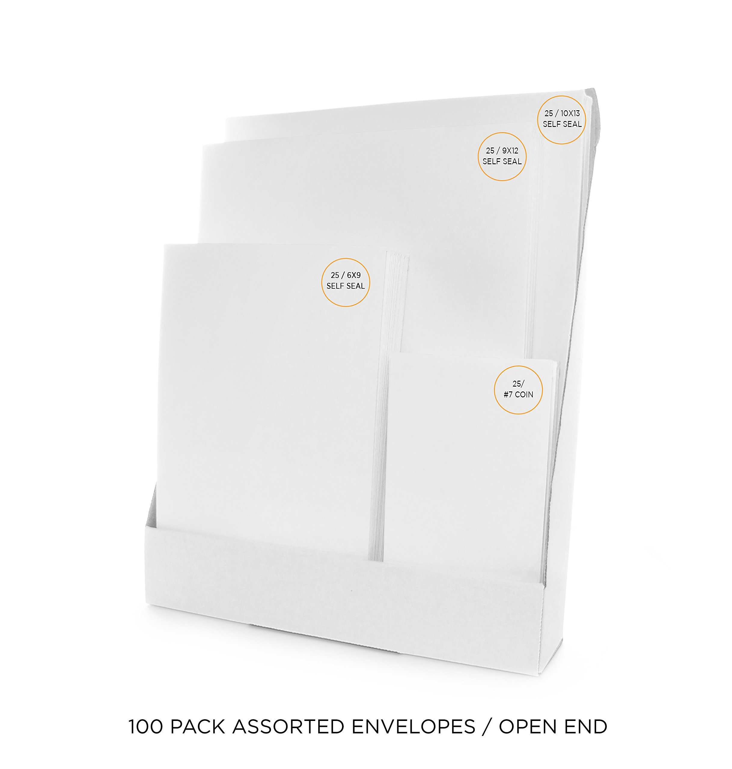 Envelope Tower – Office Envelopes Bulk Variety Pack – [25] 10x13 Self Seal, [25] 9x12 Self Seal, [25] 6x9 Self Seal, [25] #7 Coin Envelopes & Storage Box Holder – 100 Count Total – White Cat (Catalog)