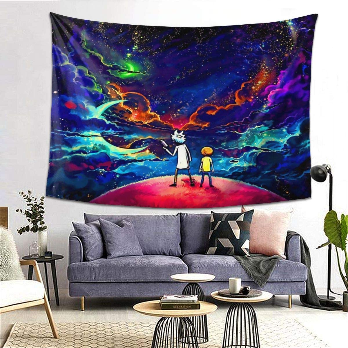 youme Fantasy Starry Sky Wall Hanging Tapestry Origal Design Wall Decor for Room Living Ri-ck Mor-ty 1, 82 x 59 inch