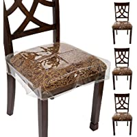 """Houseables Chair Seat Covers, Plastic Cover, Fits 16"""" – 18"""" Seats, 4 Pack, Clear, Adjustable, PVC, Waterproof Protector…"""