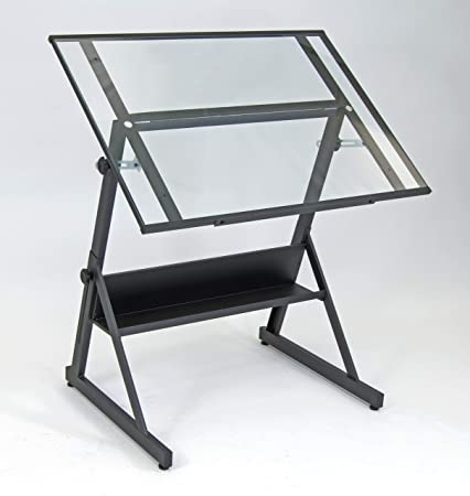 Studio Designs 13346 Solano Adjustable Height Drafting Table, Charcoal Clear Glass