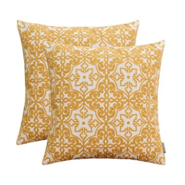HWY 50 Yellow Embroidered Decorative Throw Pillows Covers Sets Cushion Cases for Couch Sofa Living Room 18x18 inch Pretty Modern Elegant Floral Geometric Pack of 2