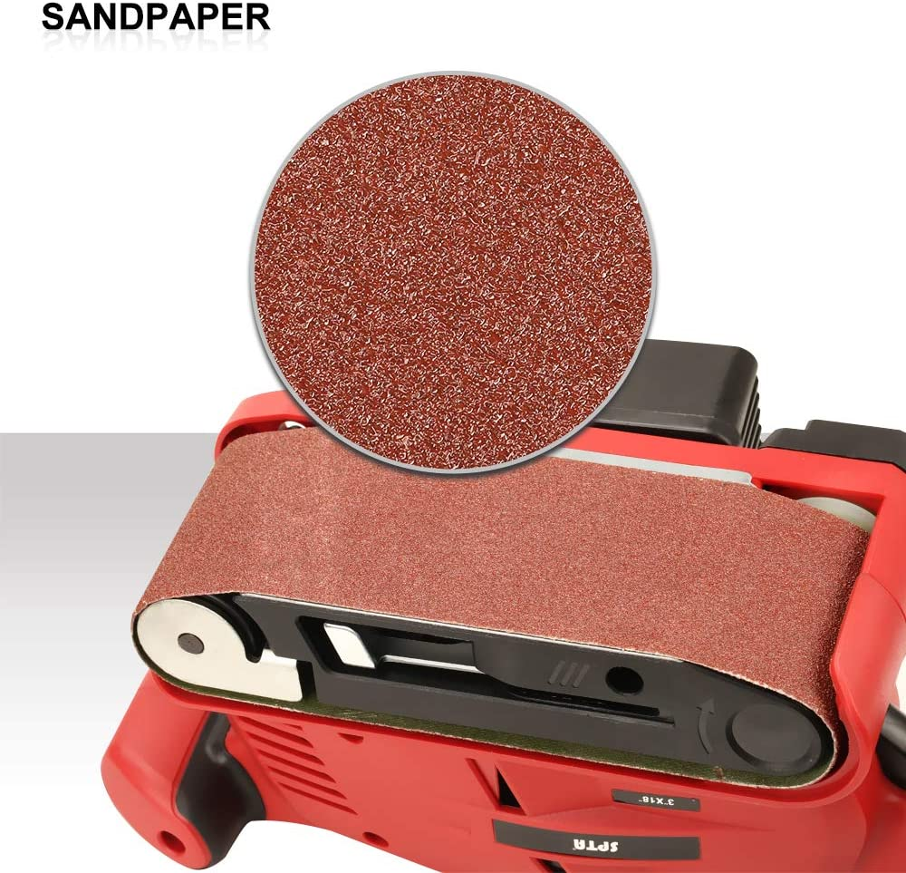 Suit for Sanding and Grinding SPTA Belt Sander 3/×18 Inch Bench Sander with Variable-Speed Control 14Pcs Sanding Belts Vacuum Adapter Dust Box Fixed Screw Clamp