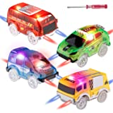 Tracks Cars Replacement Only, Light Up Magic Cars for Tracks Compatible with Glow in the Dark Toy Cars with 5 LED Flashing Li