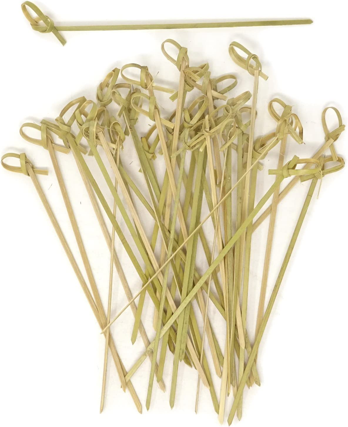 Honbay 100PCS 15cm 6 Inch Cocktail Picks Bamboo Knot Skewers Knotted Skewers Twisted Ends Bamboo Picks