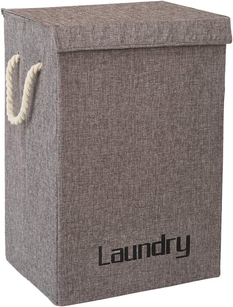 COUNER Laundry Hampers with Lids, Large Laundry Baskets with Handles Foldable Hampers for Laundry Easily Storage, Transport for Bedroom, Bathroom, Living Room, College Dorm, Grey