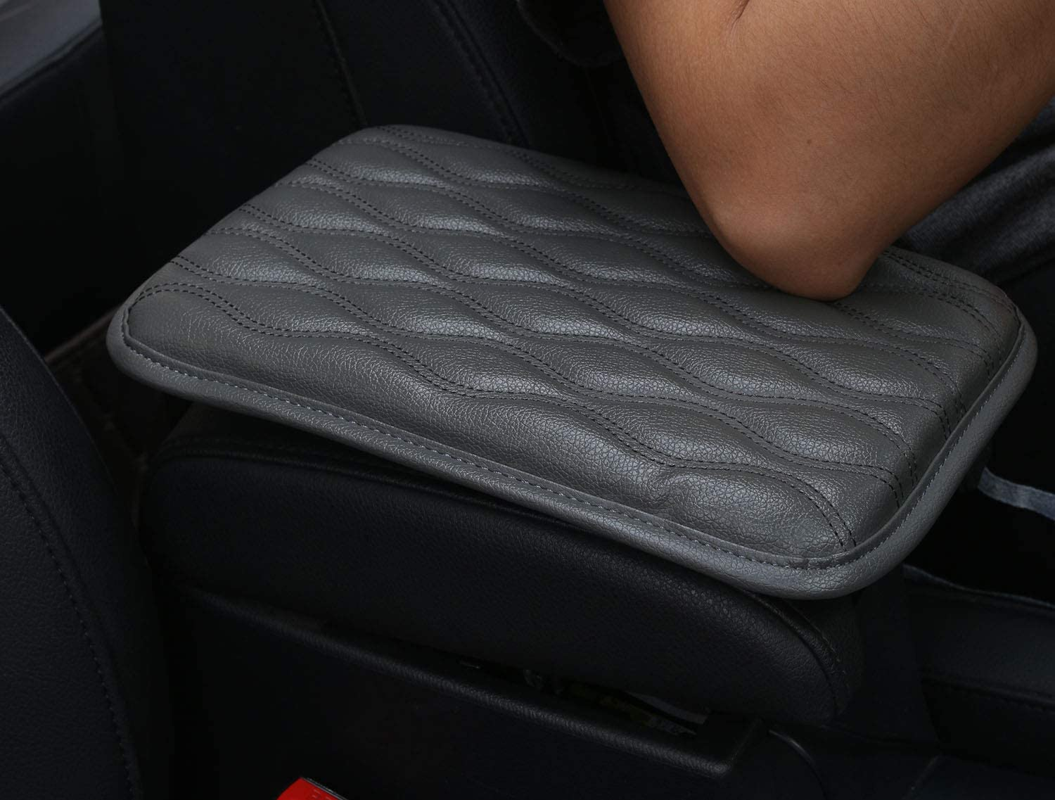 Alusbell Auto Center Console Pad,PU Leather Car Armrest Seat Box Cover Protector Protects from Dirt,Damage,Pet Scratches,Old Damaged Consoles