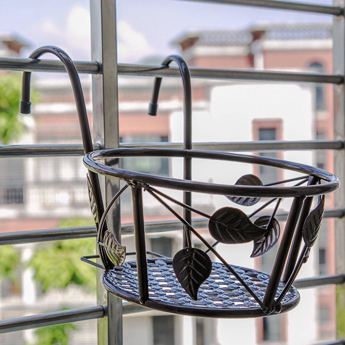 Tosnail 3 Pack Iron Art Hanging Baskets Flower Pot Holder - Great Patio Balcony Porch Fence - Brown by Tosnail (Image #3)
