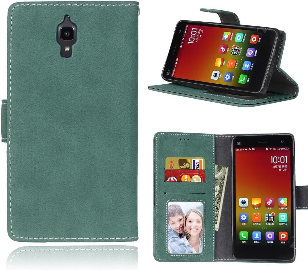 FUBAODA - Funda de Cuero para para Xiaomi Mi4, [Gamuza][Scrub] función de Soporte móvil, Cierre magnético con Ranura para Tarjeta crédito Monedero protección para para Xiaomi Mi4 (Verde)