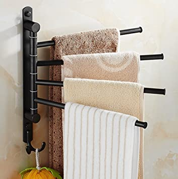 ELLOu0026ALLO Oil Rubbed Bronze Towel Bars For Bathroom Wall Mounted Swivel Towel  Rack Holder With Hooks