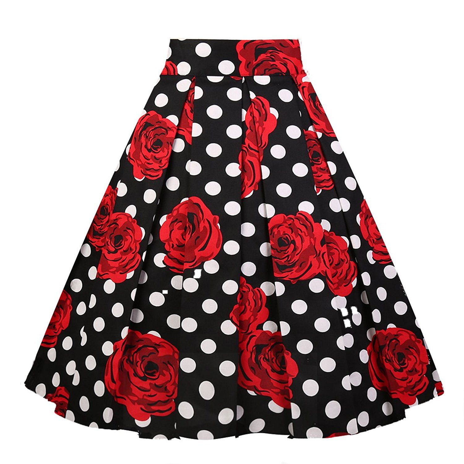 Dresstore Women's Vintage Pleated Skirt Floral A-line Printed Midi Skirts with Pockets White dots-Rose-L