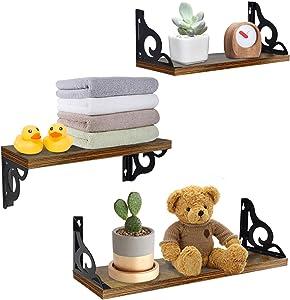 Floating Wall Hanging Shelves Set of 3, Wall-Mounted Storage Organizer Shelf for Bathroom, Shower, Bedroom, Bedside, Living Room, Kitchen, Office