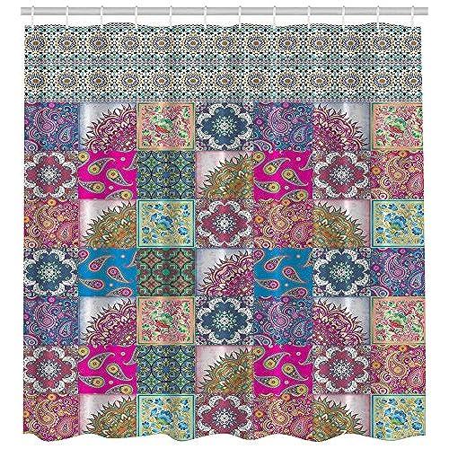 Plaid Shower Curtain Classic Geometric Decor By Ambesonne, Paisley Mandala  Medallion Octagon Ikat Diamond Multicolor Colorful Squares Damask Patchwork  Theme ...
