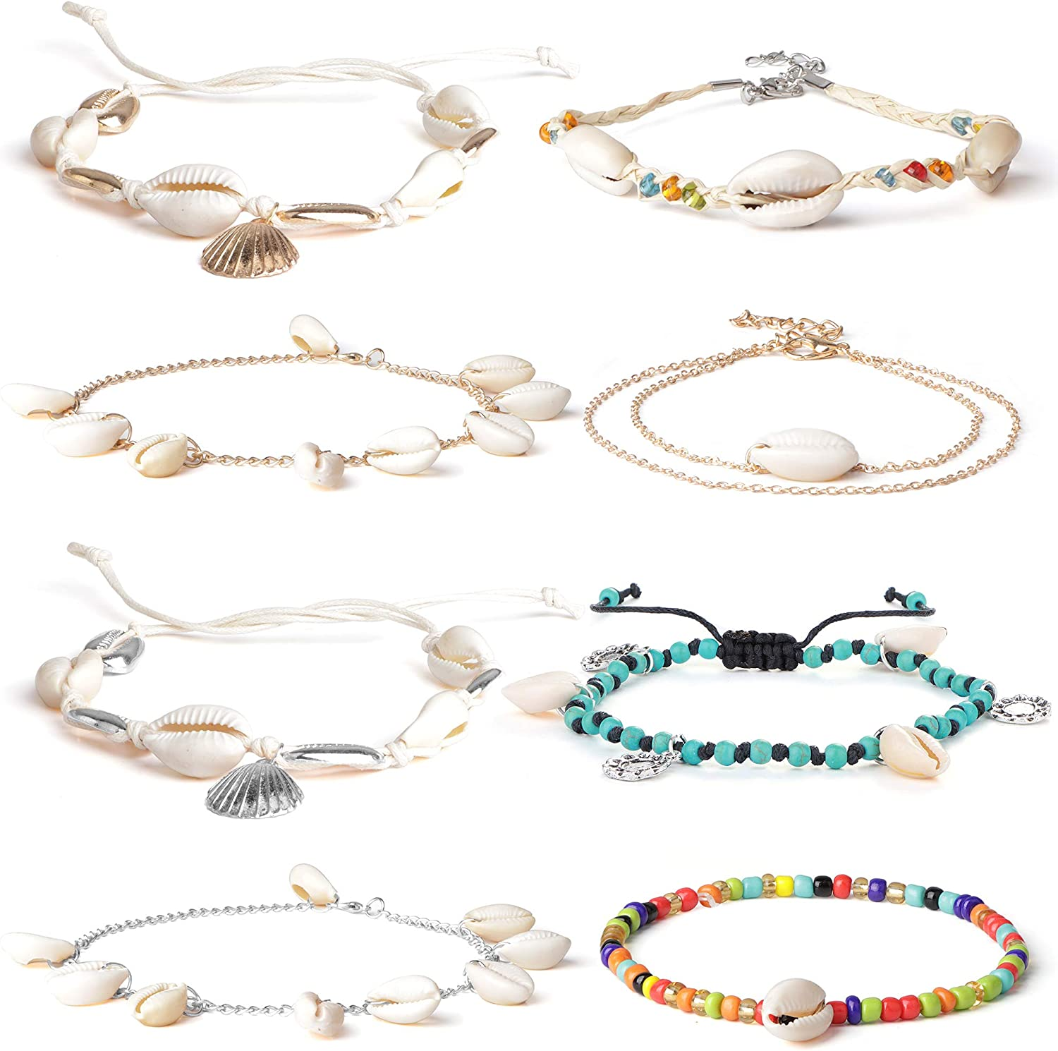 LOLIAS 8 Pcs Shell Anklet...