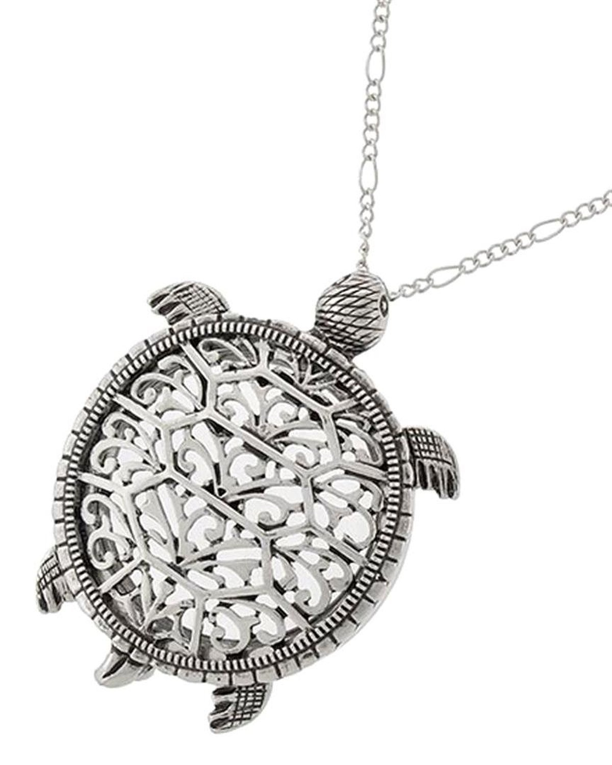 Sea Turtle Magnifier Magnifying Glass Sliding Top Magnet Pendant Necklace, 30'' (Silver Tone)