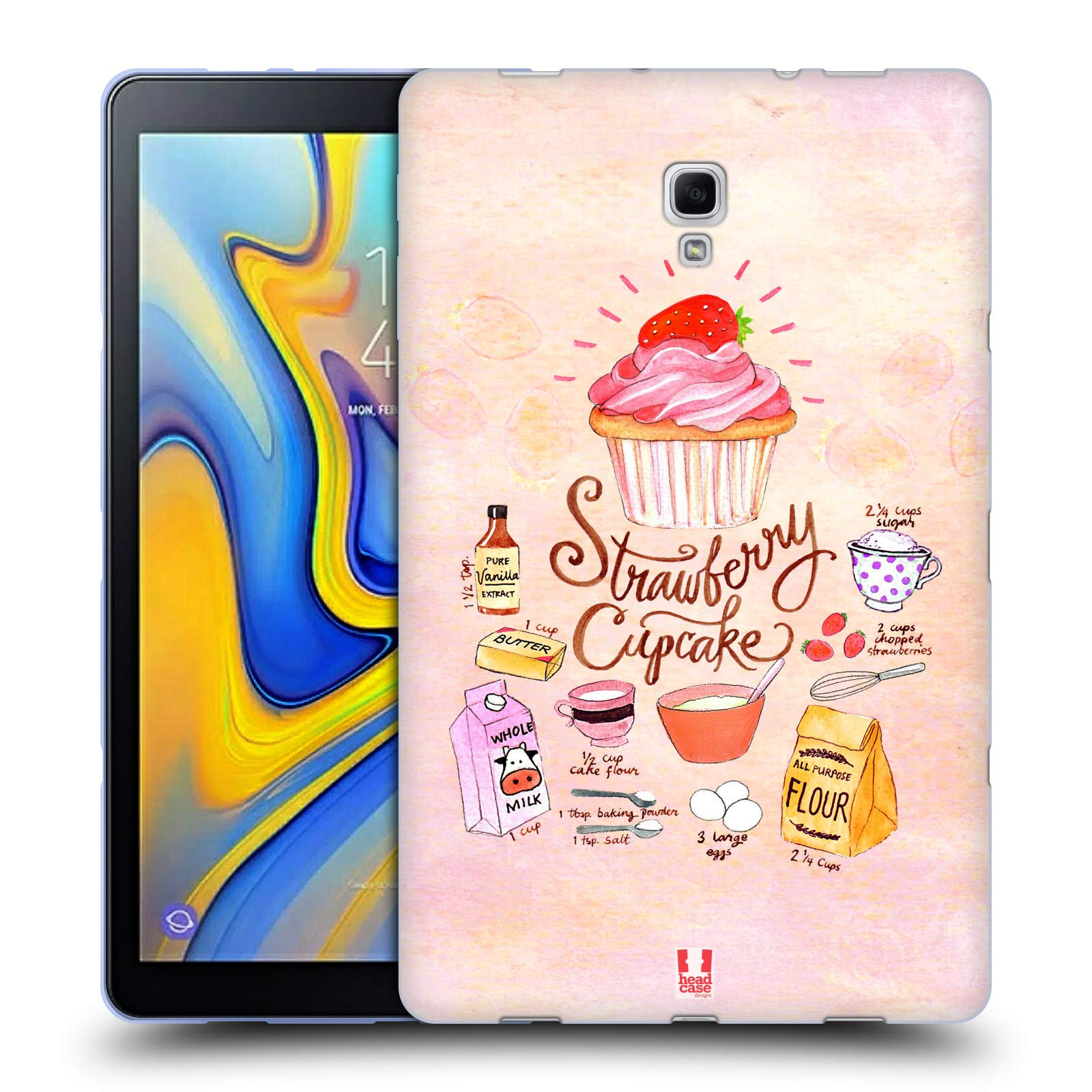 Head Case Designs Strawberry Cupcake Illustrated Recipes Soft Gel Case Compatible for Samsung Galaxy Tab A 10.5 (2018) by Head Case Designs