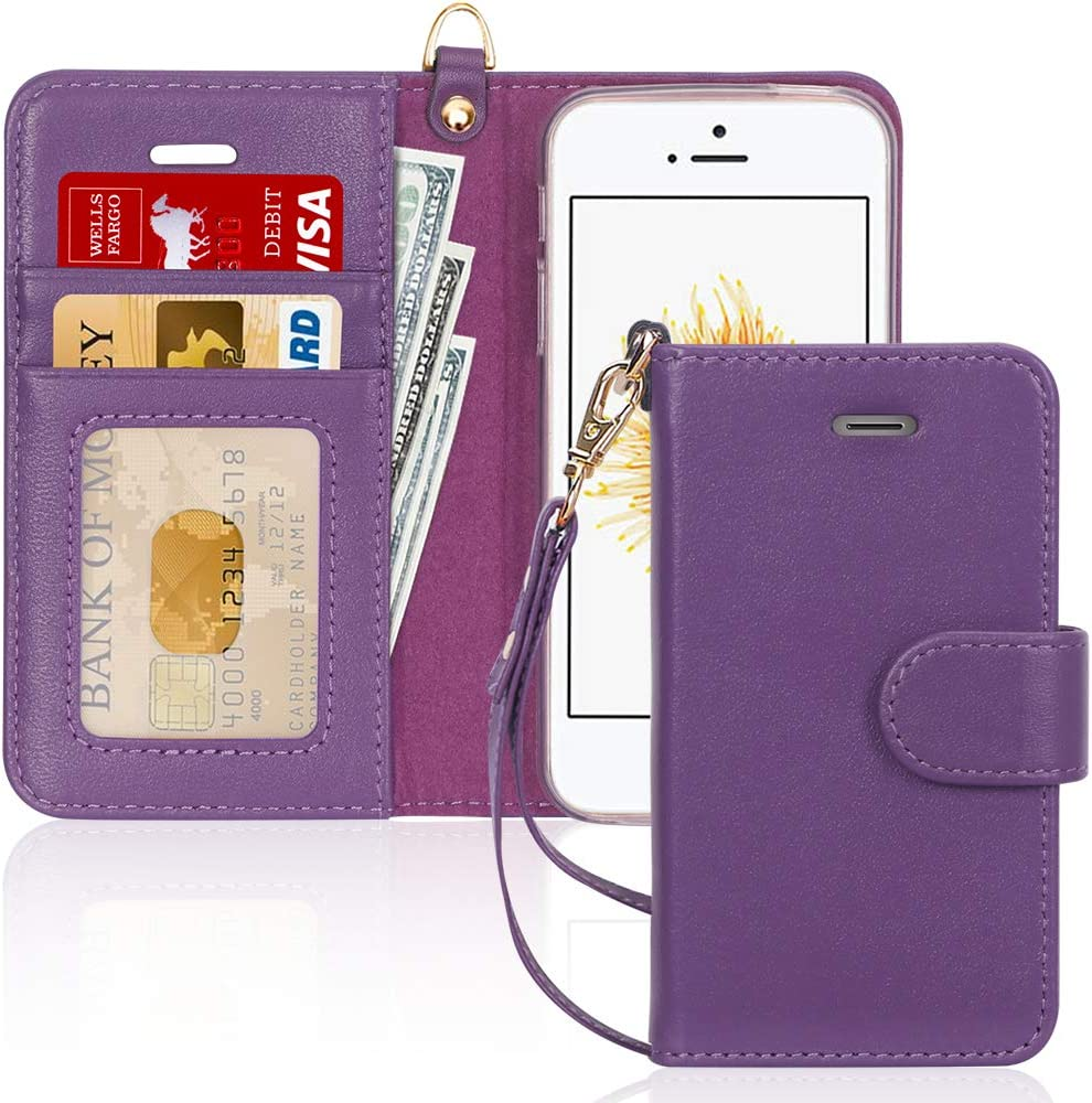 FYY Case for iPhone 5/5s/SE (1st gen-2016), [Genuine Leather][Kickstand Feature] Flip Wallet Phone Case Protective Folio Cover with [Card Holder][Wrist Strap] for iPhone 5/5s/SE (1st gen-2016) Purple