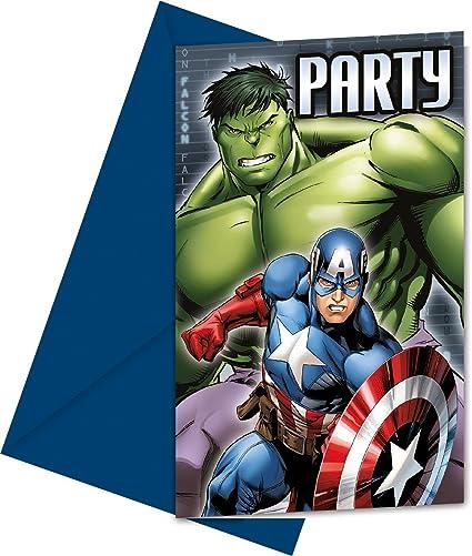 Marvel Party Tarjetas De Invitación Los Vengadores 6 Unidades
