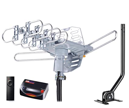 pingbingding HDTV Antenna Amplified Digital Outdoor Antenna with Mounting  Pole & 40FT RG6 Coax Cable--150 Miles Range--360 Degree Rotation Wireless