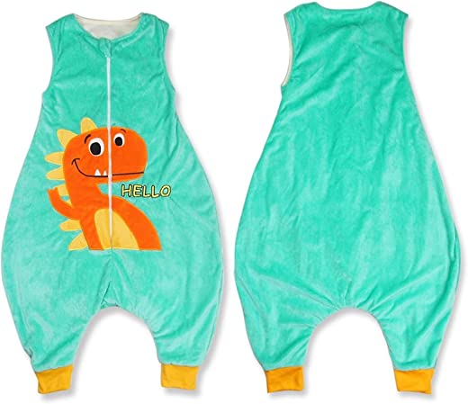 Winter Children'S One-Piece Pajamas Flannel Warm Material Cartoon Animal Pattern Zipper Opening Indoor Children'S Home Clothing Makfacp (Color : 2, Kid Size : 7T)