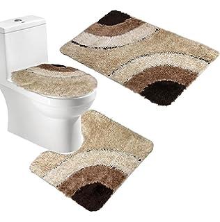 ORIGINALTREE Microfiber Teppich Nicht Slip 3 Stück Bad Matten Sets, Bad  Matte + Contour Mat