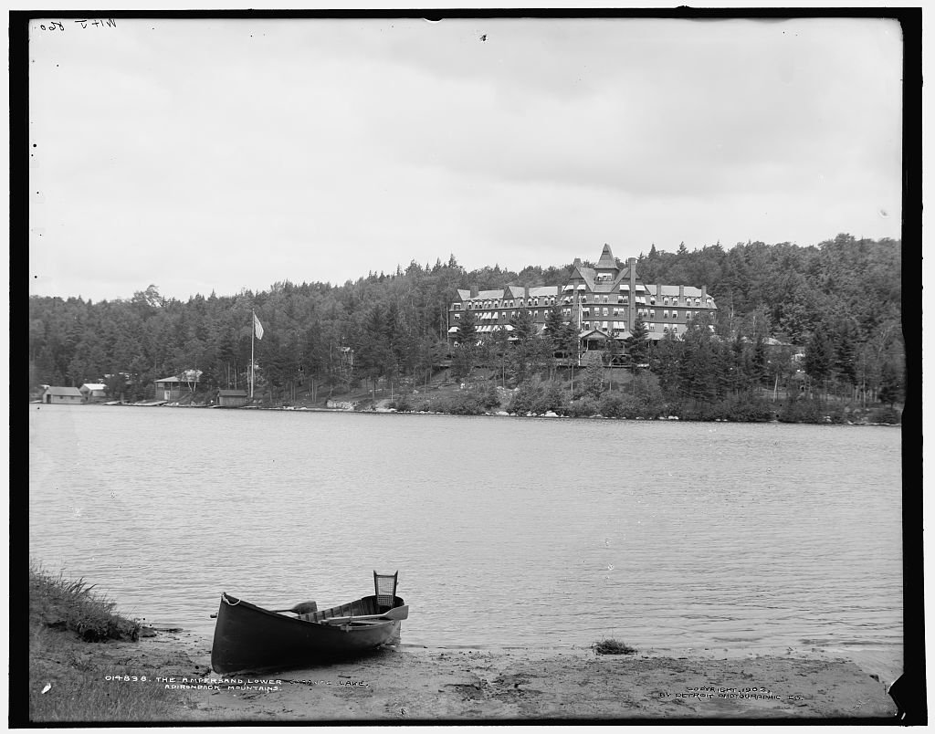 16 x 20 Ready to Hang Canvas Wrap The Ampersand Lower Saranac Lake Adirondack Mountains 1902 Detriot Publishing 87a