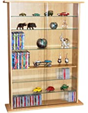 WATSONS BOSTON - Glass Collectable Display Cabinet / 600 CD / 255 DVD Storage Shelves - Beech