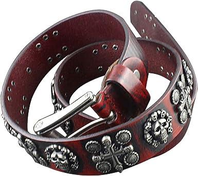Belt Leather Skull Buckle Mens Motorcycle Style Original Genuine Gift for Men