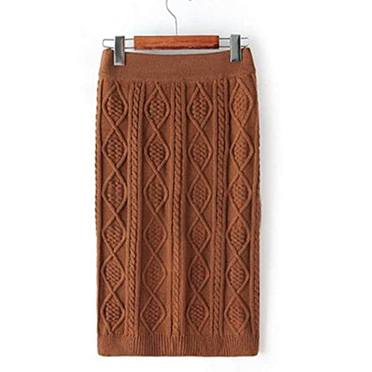 641c9f4a8beb0 LISASTOR Womens Winter Warm Argyle Pattern Pencial Sweater Skirts Slim  Knitted Skirt (Coffee)