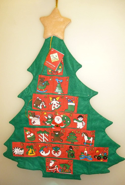 68 centimetri peluche verde Albero di Natale Avvento Calendario con tasche rossi
