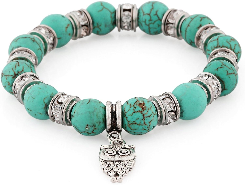 Morella Pulsera elástica con Perlas de Piedras con Colgante Lechuza y Piedras de circonita para Damas