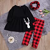 3Pcs Toddler Baby Girl Long Sleeve Reindeer T-Shirt