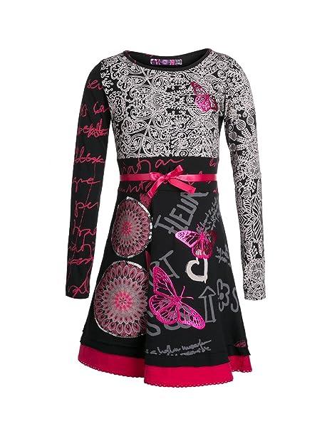 8550b6ffc3630 Desigual Yamusukro - Robe - Imprimé - Fille - Noir (Negro) - FR  4 ...