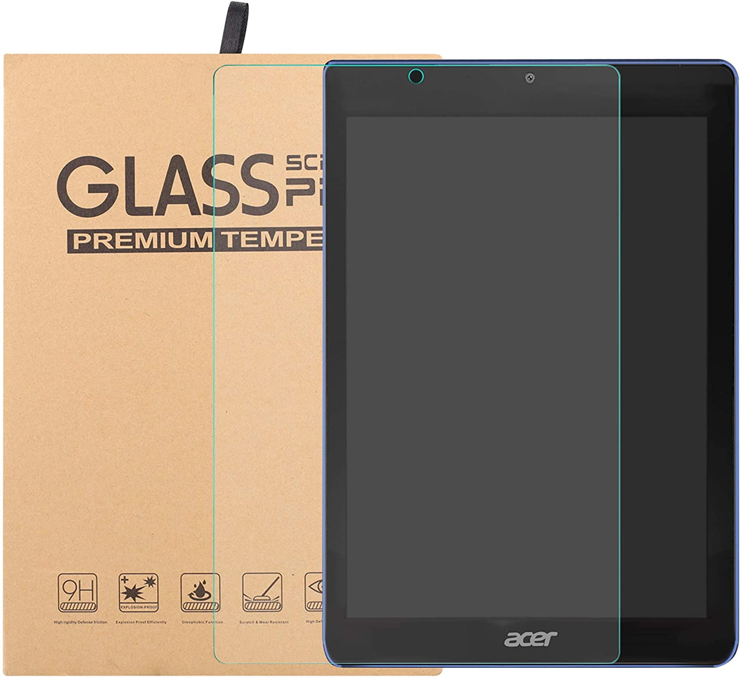 "Acer Iconia One 8 B1-870 Tempered Glass Screen Protector,Bige HD Clear Scratch-Resistant 9H Hardness Film for 8"" Acer Iconia One 8 B1-870 Tablet."