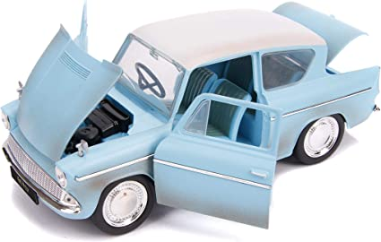 1//24 Jada 1959 Ford Anglia /& HARRY POTTER Figure Diecast Model Light Blue 31127