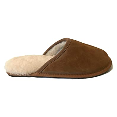 2b93d9233c8f1 Real Genuine Suede Leather Tan Sheepskin Fleece Lined Slip On Mule Comfy  Cosy Comfortable Mens Gents ...